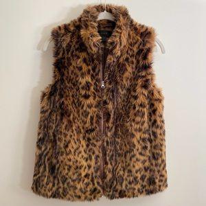 J. Crew Leopard Print Faux Fur Vest